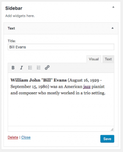 Update WordPress Text Widget