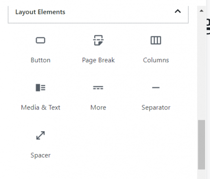 WordPress Blocks layout