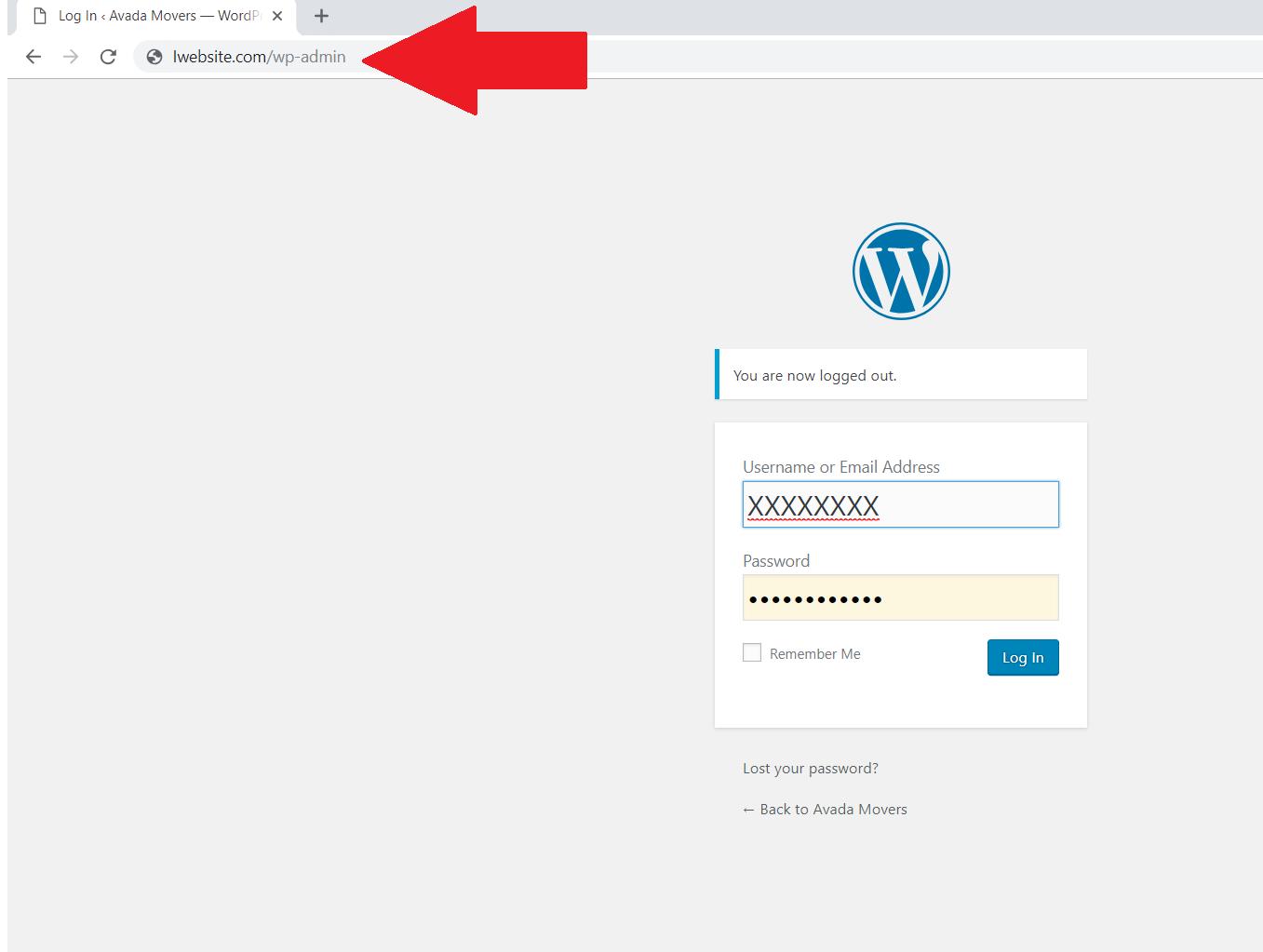 initial WordPress login screen