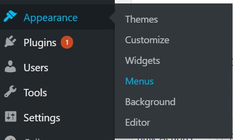 Screenshot of menu option in sidebar