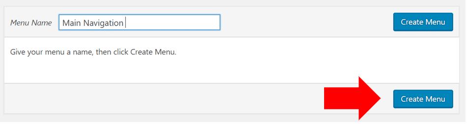 Screenshot of create menu button