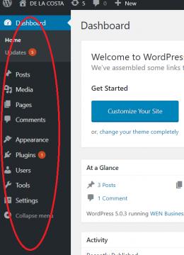 WordPress Navigation Bar links