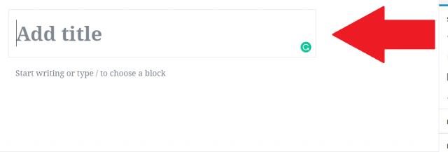 WordPress block editor add title