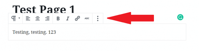 WordPress block editor tool bar