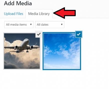 WordPress classic editor media library