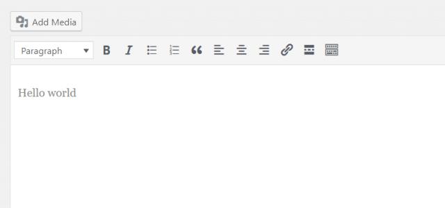 WordPress classic editor hello world