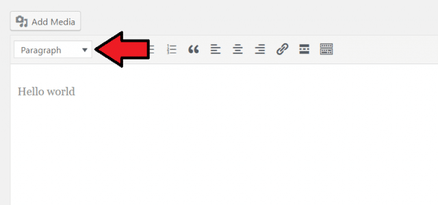 WordPress classic editor paragraph