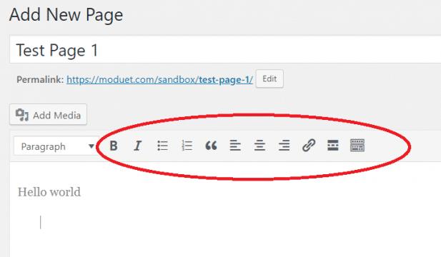 WordPress classic editor paragraph tool bar