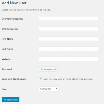 WordPress new user image
