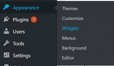 Widget in sidebar navigation menu